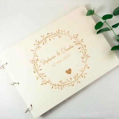 livre d'or champêtre en bois de mariage