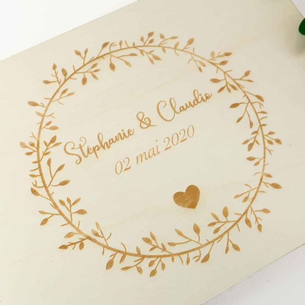 livre d'or bohème en bois de mariage