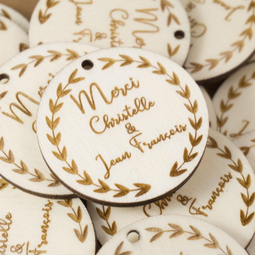 étiquettes bois cadeaux invités mariage