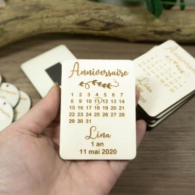 magnet en bois anniversaire