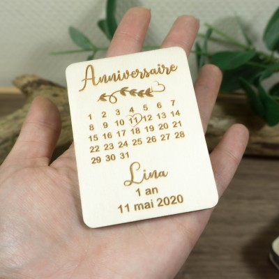 magnet d'invitation en bois