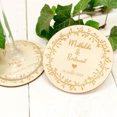 Dessous de verre en bois mariage