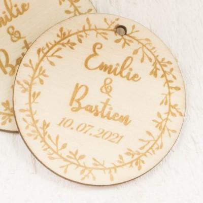étiquettes bois mariage