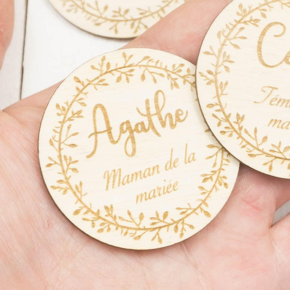 Badges à personnaliser pour vos invités de mariage