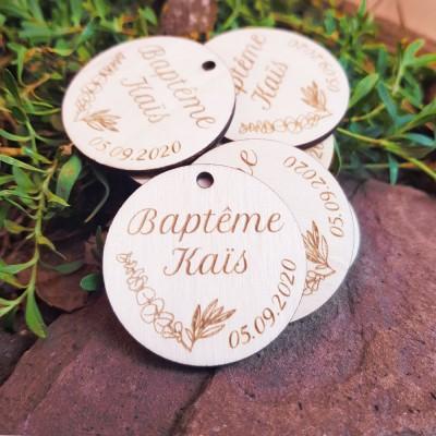 Étiquettes en bois 4 cm eucalyptus pour vos cadeaux