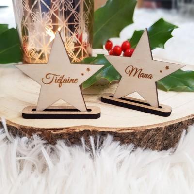 Marque-place étoile à personnaliser en bois