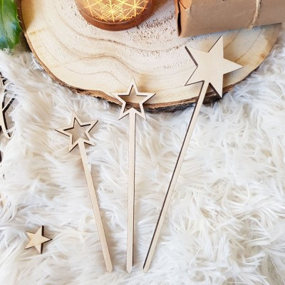 cake topper étoile en bois