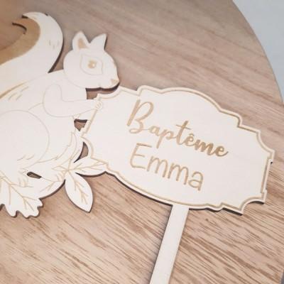 décoration en bois écureuil anniversaire