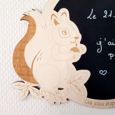 carte étape en bois écureuil