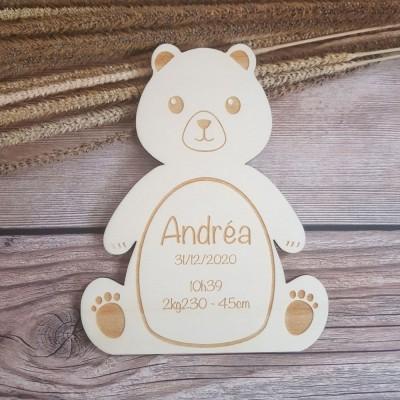Faire-part en bois modèle ours
