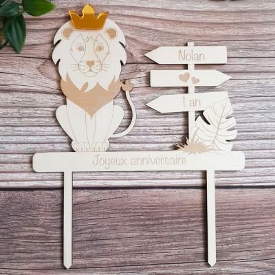"""Cake topper """"Monsieur Lion"""" et sa couronne"""