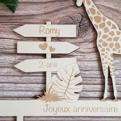cake topper bois girafe détails