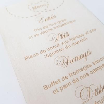 voyage mariage; menu mariage bois gravé