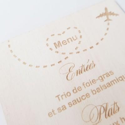 menu en bois voyage mariage