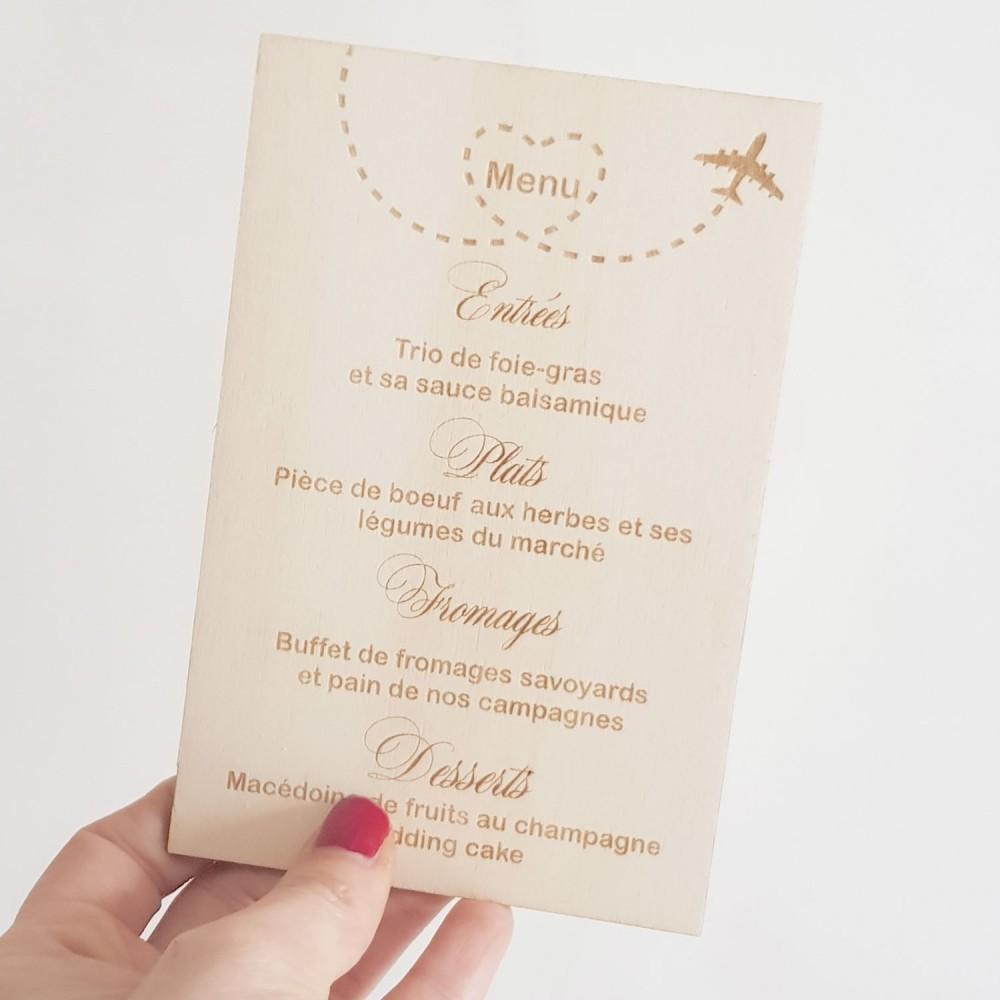 votre menu de mariage en bois