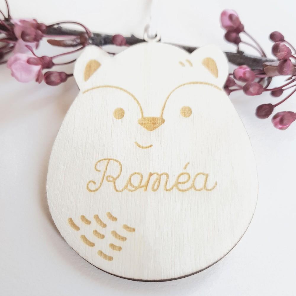décoration renard en bois pour enfant