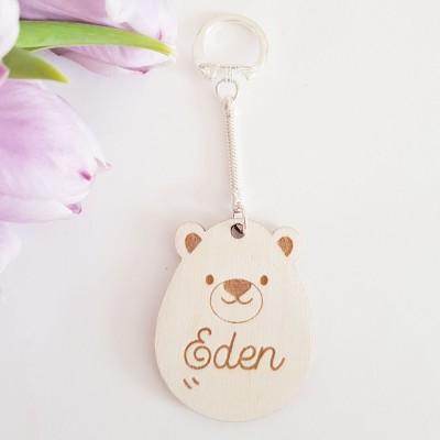 porte-clefs ours en bois à personnaliser