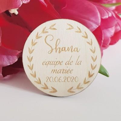 badge en bois équipe du marié