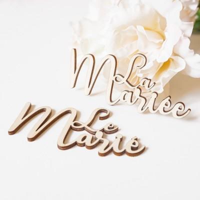 marque-places mariage en bois