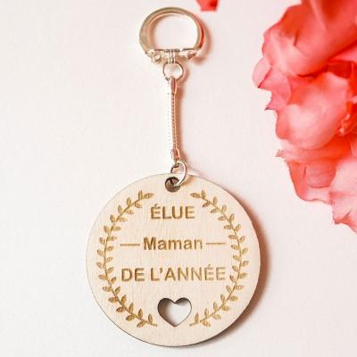 porte-clefs en bois élue maman de l'année