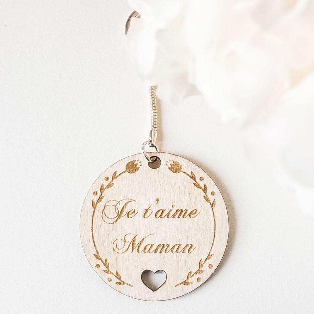 porte-clefs en bois je t'aime maman