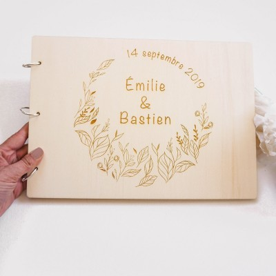 livre d'or de mariage en bois champêtre