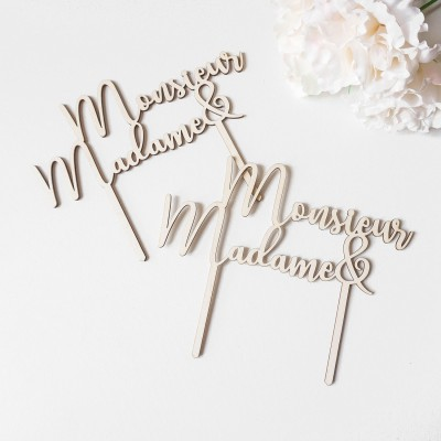 Cake Topper Monsieur & Madame