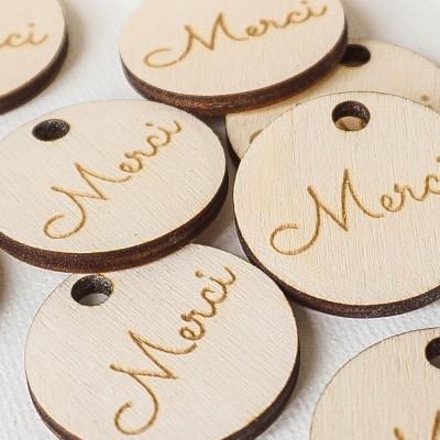 lot d'étiquettes de remerciements en bois