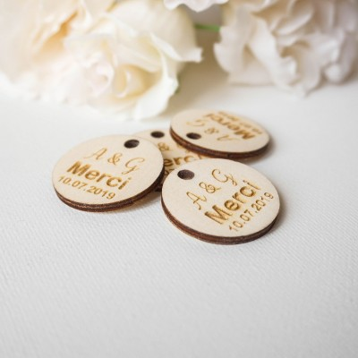 étiquettes bois remerciement mariage