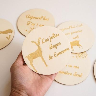 carte étape en bois personnalisée et gravée avec le prénom de l'enfant