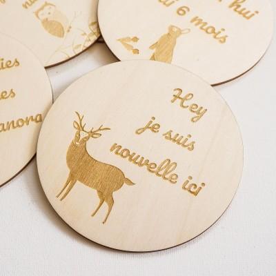 cartes étapes de bébé originale en bois