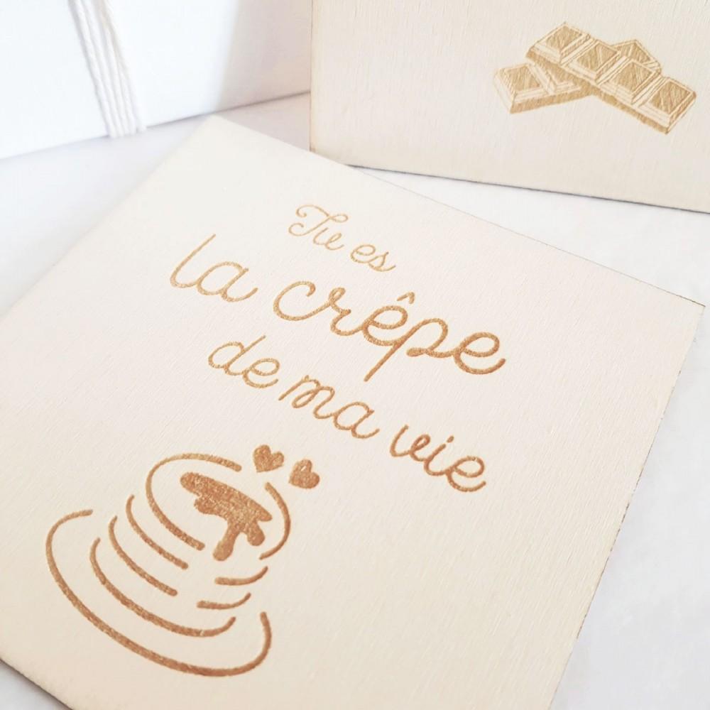 carte postale en bois amour