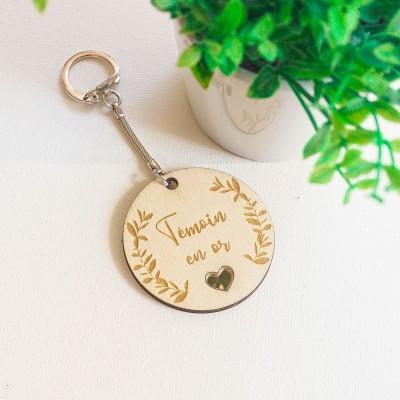 porte-clefs de mariage en bois à personnaliser