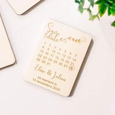 save the date en bois thème de l'amour