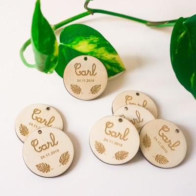 étiquettes en bois sur le thème de la jungle