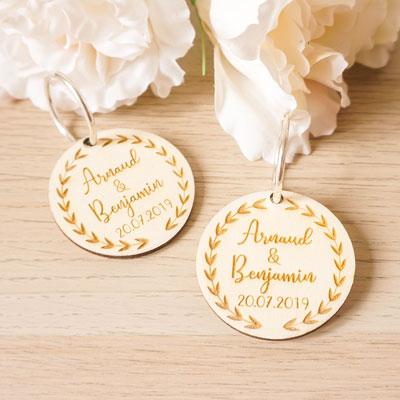 porte clefs bois cadeau mariage